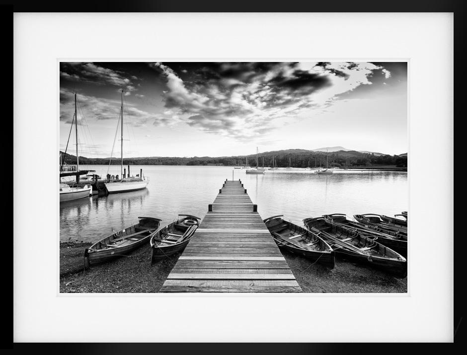 Windermere black white print from waterhead