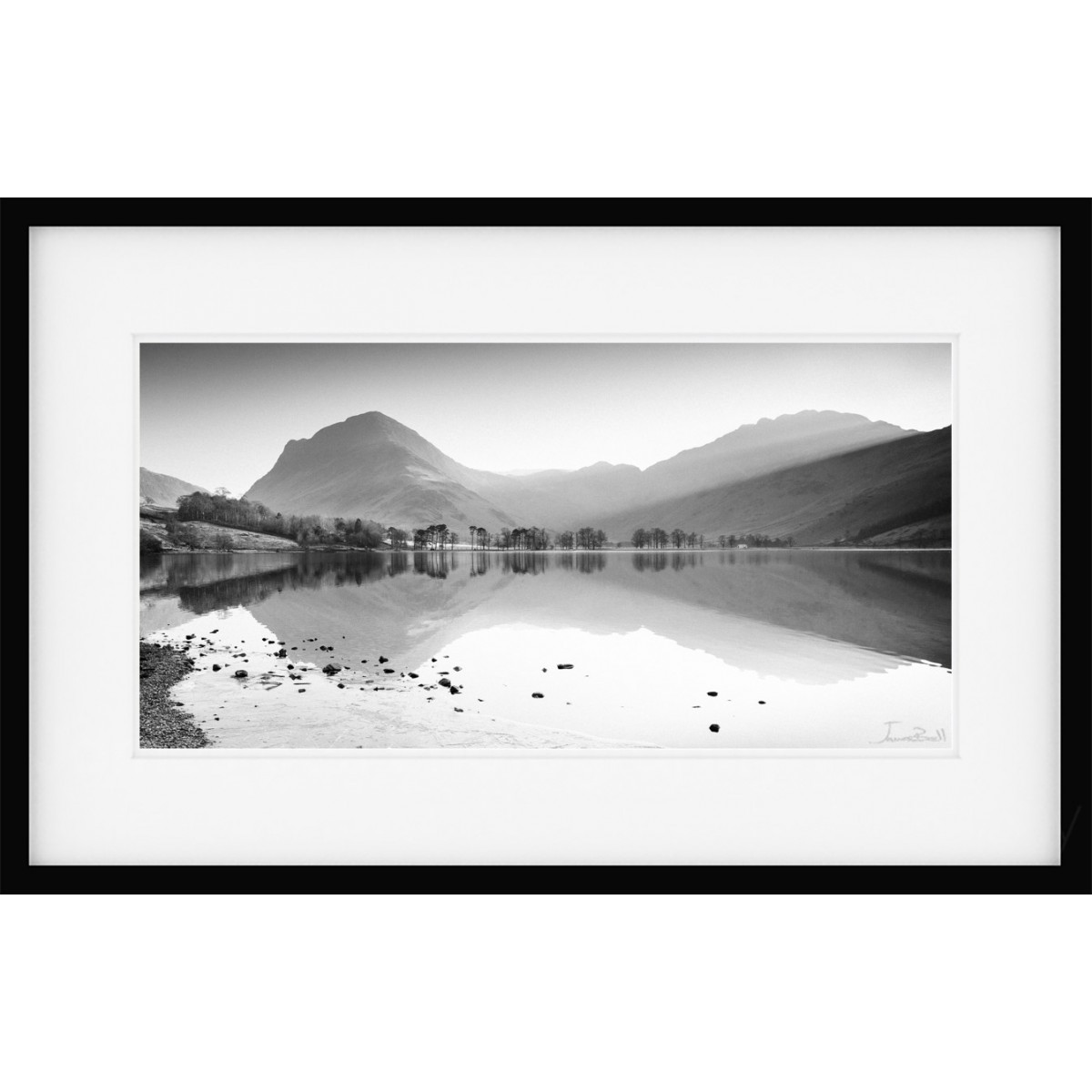 Buttermere View Mono Framed Print