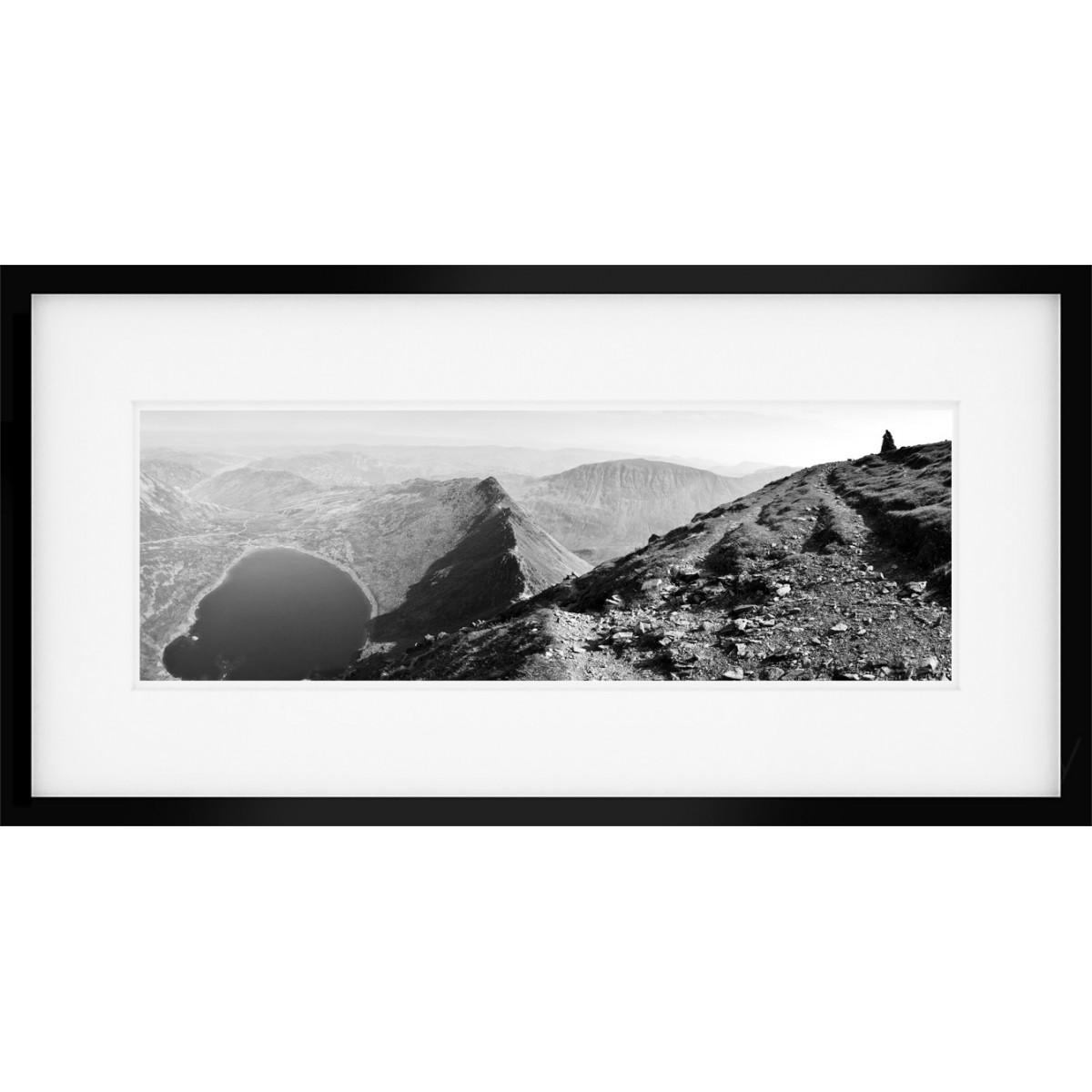 Striding Edge black and white framed print