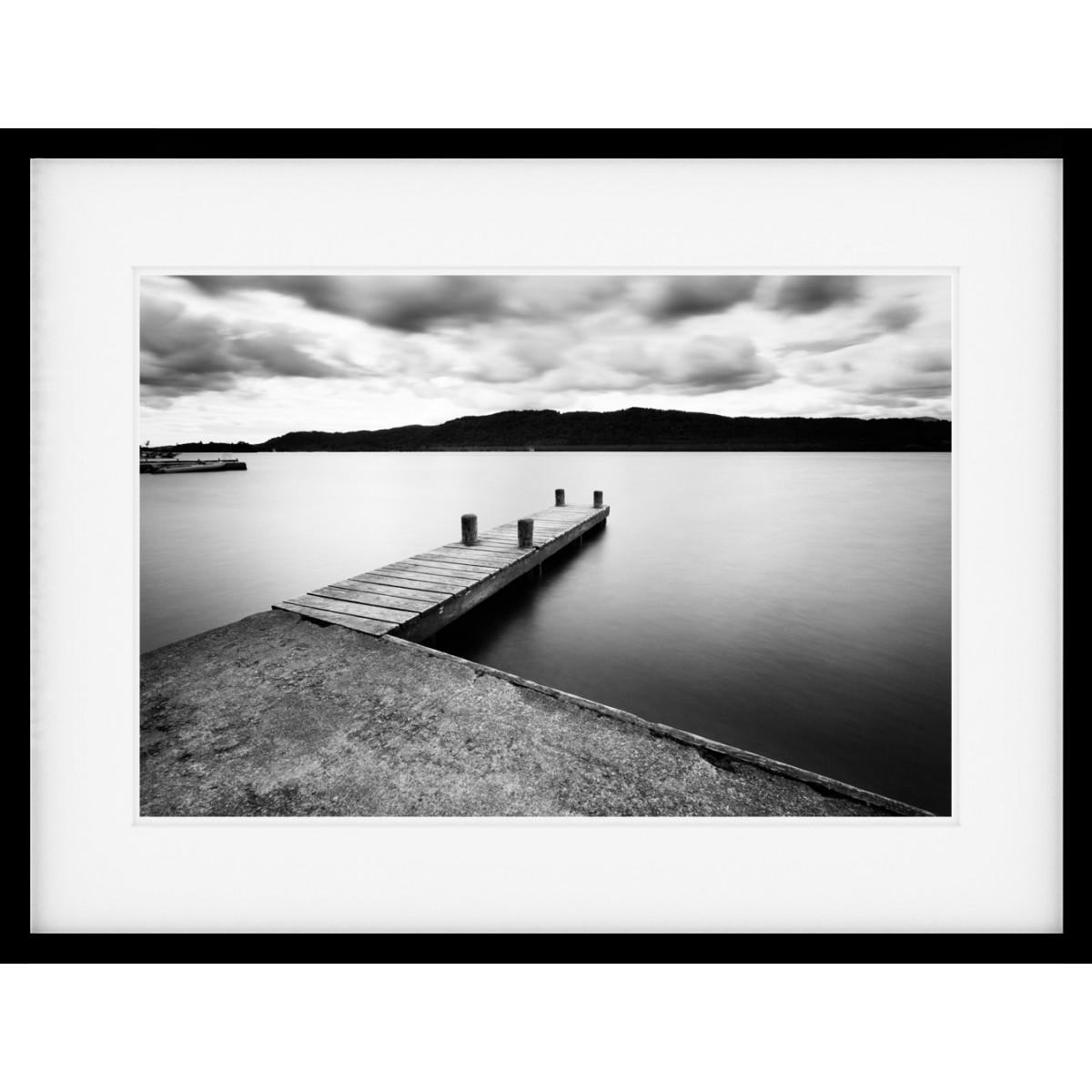 Jetty Lines Mono Framed Print