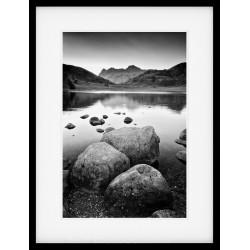 Blea Tarn Mono Rocks Framed Prin