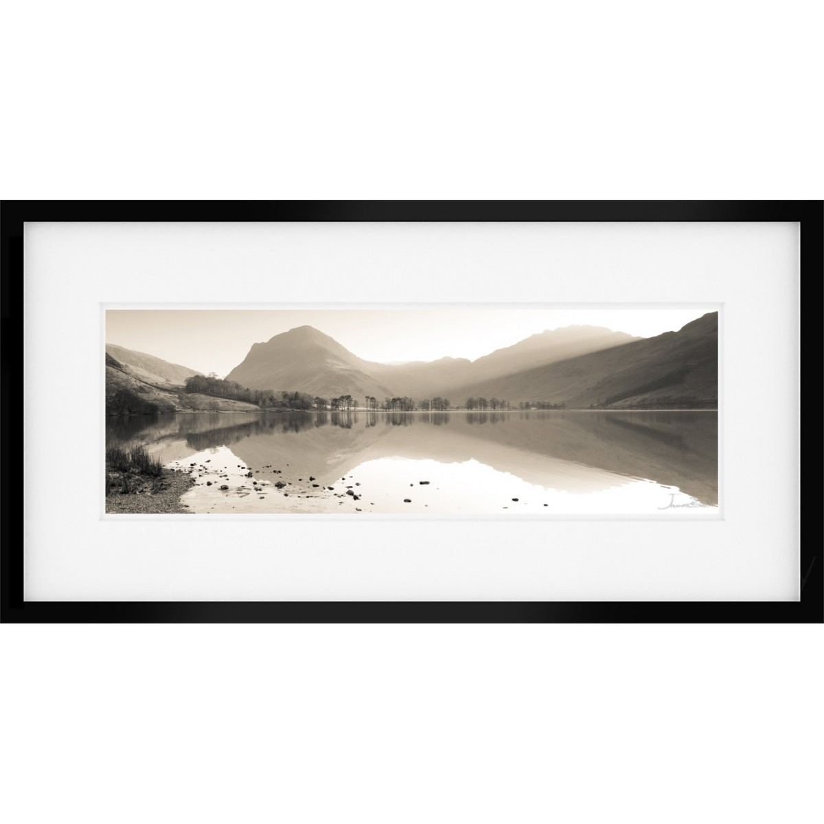 Buttermere View Sepia Framed Print