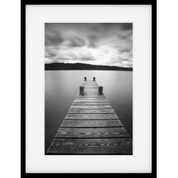 Stone Jetty Mono Framed Print