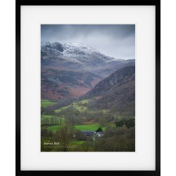 Snow capped Wetherlam over Yewdale Farm Framed Print