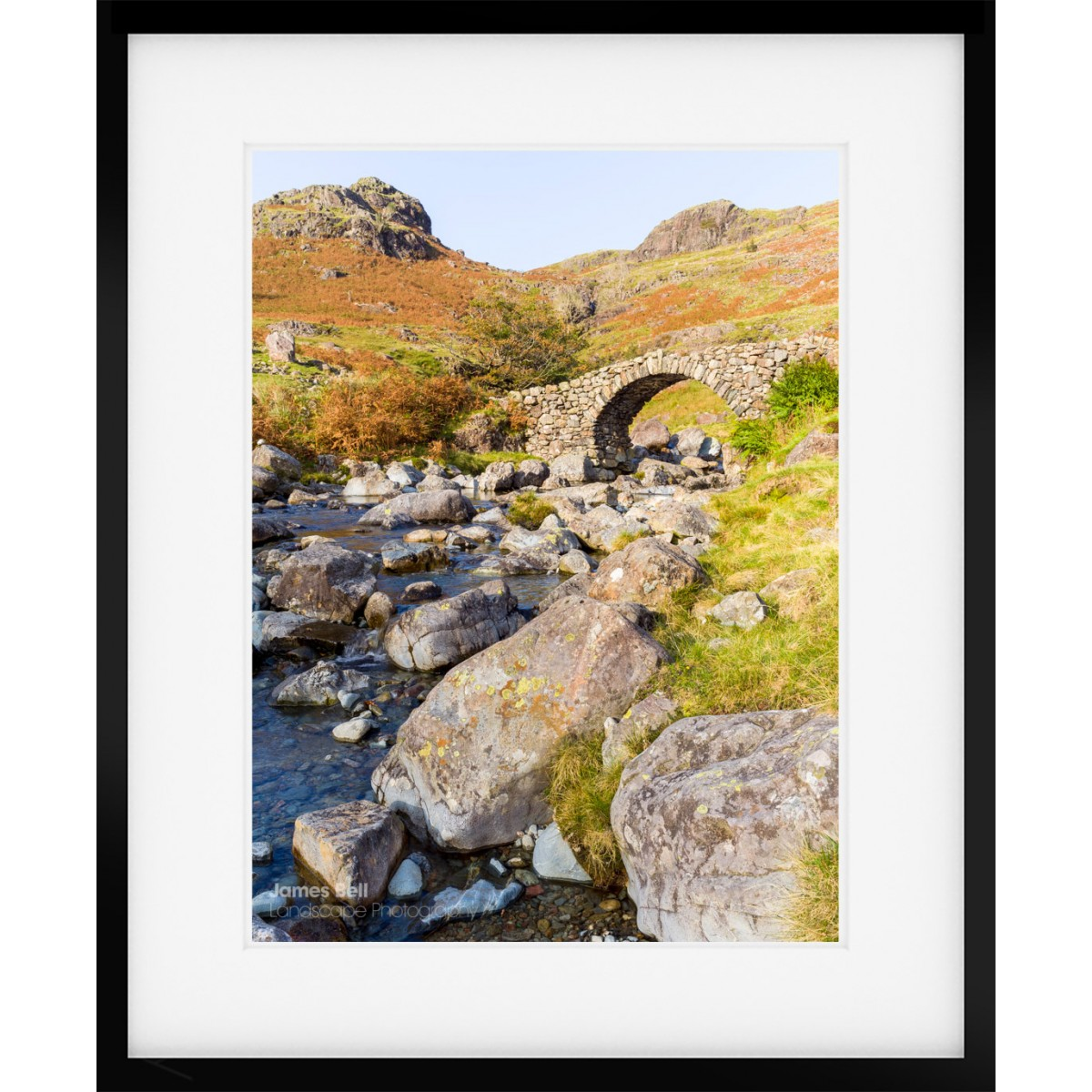 Framed print of Lingcove Bridge at the head of the Eskdale Valley in the Lake District