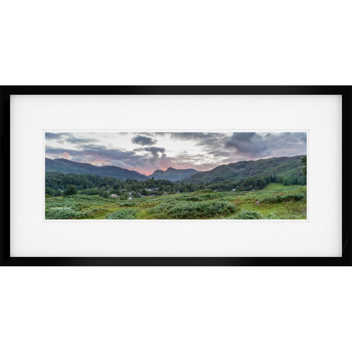 Elterwater Sunset Wide framed print
