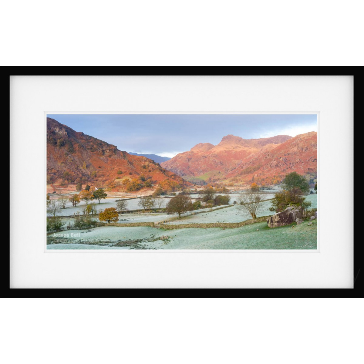 Langdale Boulders Dawn framed print
