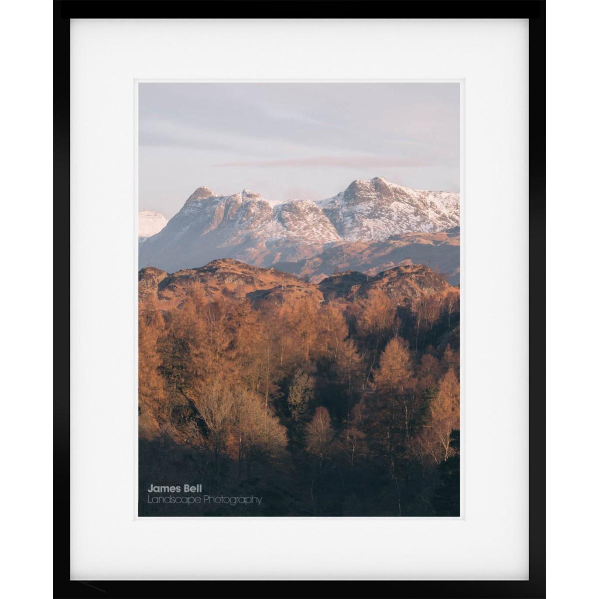 Langdale Pikes in Winter framed print