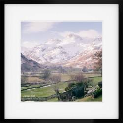 Langdale Boulders Snow framed print