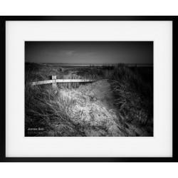 Crosby Dunes black & white framed print