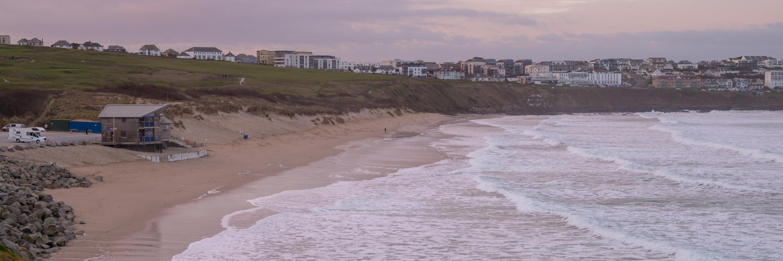 Fistral Beach after sunset