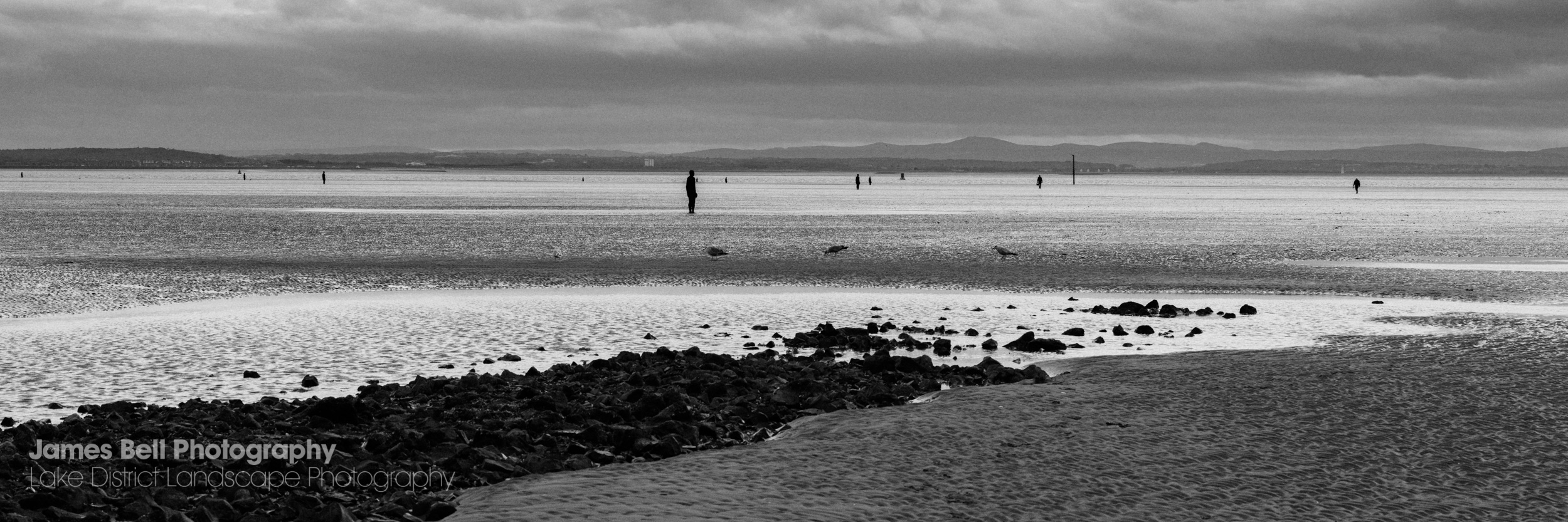 Black and White print of Crosby Beach